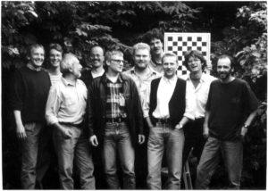 das Bild zeigt das Aufstiegsteam 1995: v.l.n.r.: Guntram Lenz, Dirk Romstadt, Robert Daxl, Jürgen Rudlof, Martin Merz, Uwe Budde, Dieter Raddatz, Gernot Medger, Ralf Schütz, Hajo Schötz.